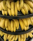 Bananas in a supermarket stock photos