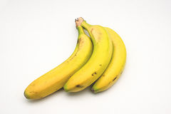 Bananas from the Canary Islands on white background Royalty Free Stock Image