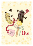 Bananas in chocolate with tag in love. A6 format postcard. Hand drawn poscard from `Fruit Love & Sweet` collection Royalty Free Stock Photo