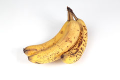 3 bananas. Closeup picture of 3 bananas on a white background Stock Images