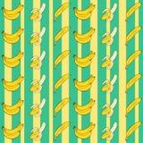 Bananas coloridas dos desenhos animados Teste padrão sem emenda com as bananas no fundo verde ilustração do vetor