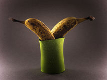 Bananas in cooling pouch. Two ripe bananas in green bottle cooling pouch, dark studio background Royalty Free Stock Images