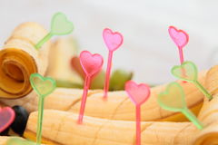 Bananas decorated with hearts Royalty Free Stock Photos