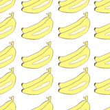 Bananas drawn in Japanese cartoon style seamless vector background Stock Photos