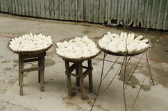Bananas drying in battambang cambodia Royalty Free Stock Images