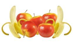 Bananas e maçãs Foto de Stock