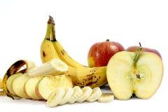 Bananas e maçãs maduras Imagens de Stock Royalty Free