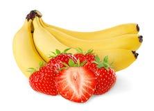 Bananas e morangos Foto de Stock