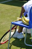 Bananas for energy. Break between games at pro tennis tournament royalty free stock images