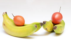 Bananas and French tomatoes Royalty Free Stock Image
