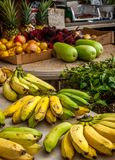 Bananas and fruit at a fruit stand. Bananas and other fruit at a road side fruit stand on the North shore of Oahu Royalty Free Stock Photos