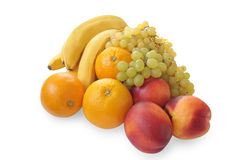 Bananas, grapes, oranges and nectarines Stock Images