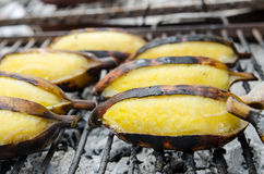 Bananas on grill Stock Photo