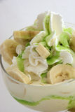 Bananas ice cream. Delicious ice cream with bananas and cream for hot summer - detail Stock Photos