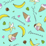 Bananas and ice cream cones Stock Image