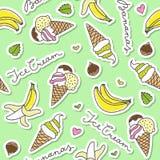 Bananas and ice cream cones Royalty Free Stock Photos