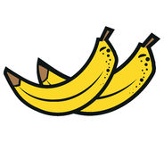 Bananas illustration isolated on white background. Pop art style Royalty Free Stock Images