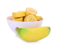 Bananas isoladas no branco Fotografia de Stock