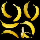 Bananas isoladas no preto Fotografia de Stock