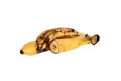 Bananas isolated on the white background. Whole banana, half banana. Banana on a white background Royalty Free Stock Image