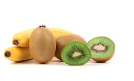 Bananas. Kiwi fruits and slice. Royalty Free Stock Photo