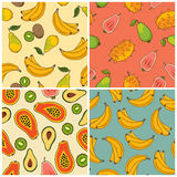 Bananas,kiwi, papaya and pear pattern set Stock Images