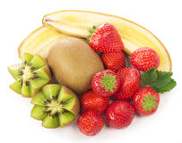 Bananas, kiwi and strawberry Stock Images