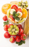 Bananas, kiwi and strawberry Stock Photography