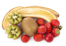 Bananas, kiwi and strawberry Stock Photo
