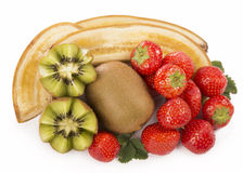 Bananas, kiwi and strawberry Stock Photos