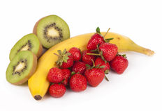 Bananas, kiwi and strawberry Royalty Free Stock Photography