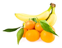 Bananas and mandarines Royalty Free Stock Photography