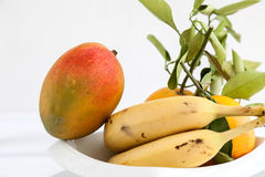 Bananas mango and fresh oranges Stock Photos