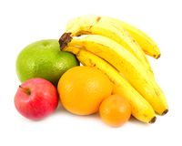 Bananas orange tangerine and apple Royalty Free Stock Photography