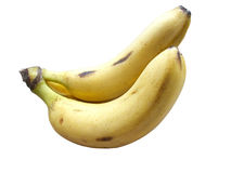 Bananas. A pair of fresh bananas, over white background stock photos