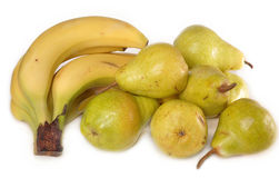 Bananas and pears. Lie on a table Stock Photography