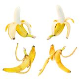 Bananas and peel leftovers isolated over white Stock Photography