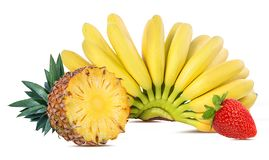 Free Bananas,pineapple And Strawberries Isolated Royalty Free Stock Photography - 130774477