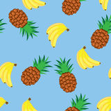 Bananas and pineapples Stock Photography