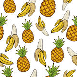 Bananas and pineapples, seamless pattern, fruit background. Drawing  on a white , graphic art, cartoon. For the design. Bananas and pineapples, seamless pattern Royalty Free Stock Photos