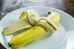 Bananas in plate Royalty Free Stock Photo