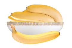 Bananas in plate isolated on the white Stock Photo