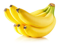 Bananas saborosos isoladas no fundo branco Fotos de Stock Royalty Free