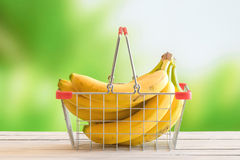 Bananas in a shopping cart Royalty Free Stock Photo