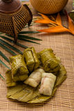 Bananas with Sticky Rice.  Royalty Free Stock Photography