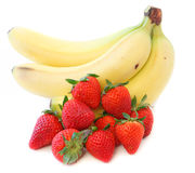 Bananas and strawberries Stock Images