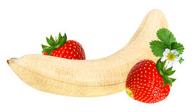 Bananas and strawberries isolated Royalty Free Stock Photo