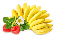 Bananas and strawberries isolated Royalty Free Stock Images