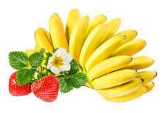 Bananas and strawberries isolated Stock Image