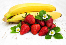 Bananas and strawberries Stock Photo